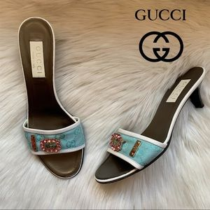 Authentic GUCCI GG Logo Embellished Slides